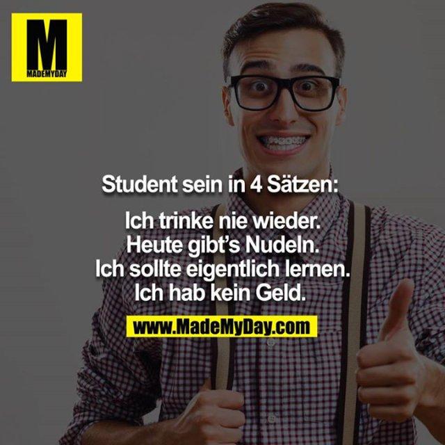 Student sein in 4 Sätzen: <br /> <br /> Ich trinke nie wieder.<br /> Heute gibt´s Nudeln.<br /> Ich sollte eigentlich lernen.<br /> Ich hab kein Geld.