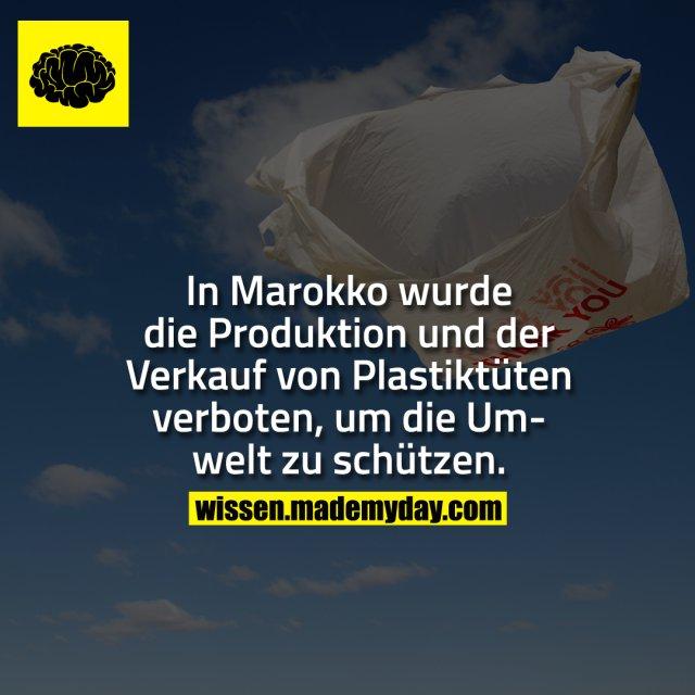 In Marokko wurde die Produktion und der Verkauf von Plastiktüten verboten, um die Umwelt zu schützen.