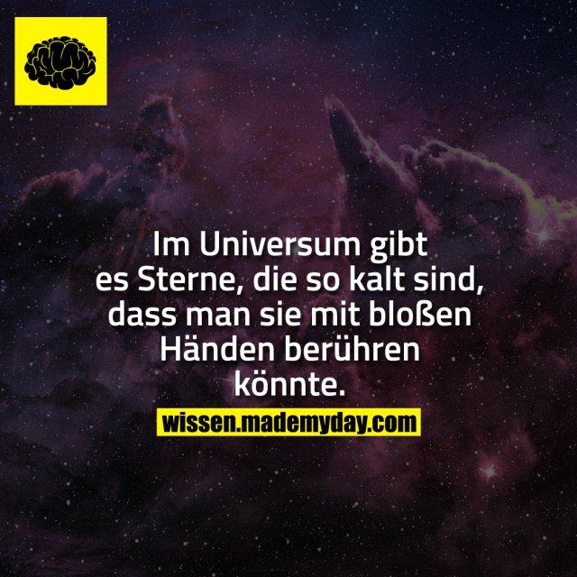 Im Universum gibt es Sterne, die so kalt sind, dass man sie mit bloßen Händen berühren könnte.