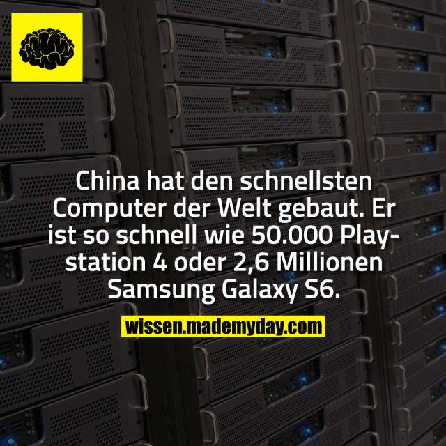 China hat den schnellsten Computer der Welt gebaut. Er ist so schnell wie 50.000 Playstation 4 oder 2,6 Millionen Samsung Galaxy S6.