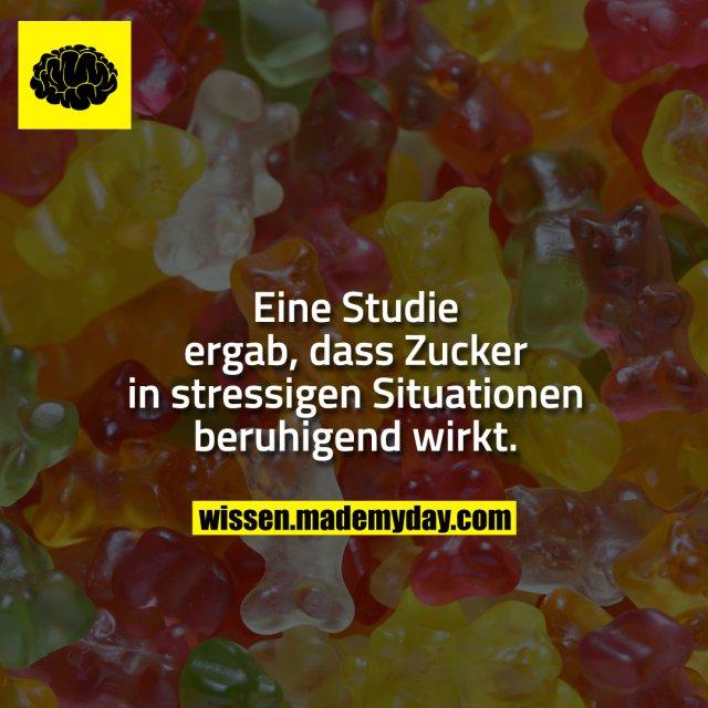 Eine Studie ergab, dass Zucker in stressigen Situationen beruhigend wirkt.