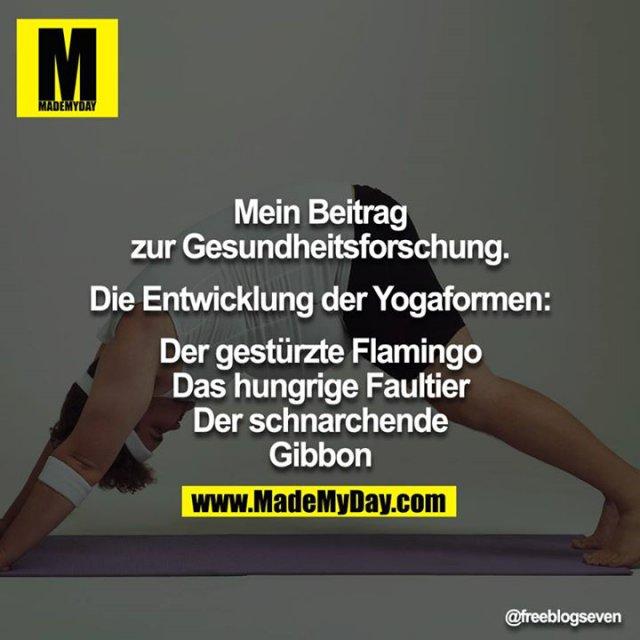 Mein Beitrag zur Gesundheitsforschung.<br /> <br /> Die Entwicklung der Yogaformen:<br /> Der gestürzte Flamingo<br /> Das hungrige Faultier<br /> Der schnarchende Gibbon