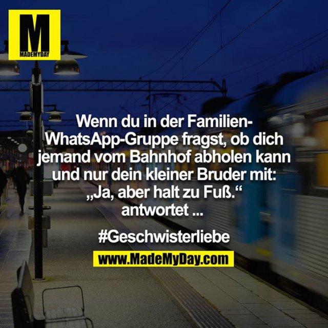 """Wenn du in der Familien-Whatsappgruppe fragst ob dich jemand vom Bahnhof abholen kann und nur dein kleiner Bruder mit: """"Ja, aber halt zu Fuß."""" antwortet... <br /> #Geschwisterliebe"""