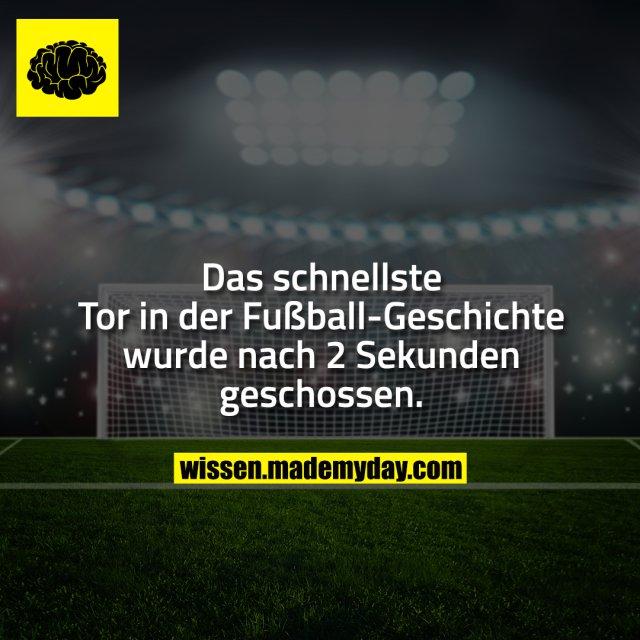Das schnellste Tor in der Fußball-Geschichte wurde nach 2 Sekunden geschossen.