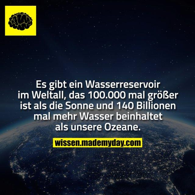 Es gibt ein Wasserreservoir im Weltall, das 100.000 mal größer ist als die Sonne und 140 Billionen mal mehr Wasser beinhaltet als unsere Ozeane.