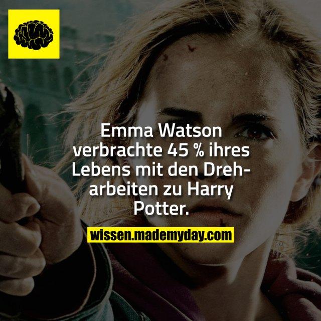 Emma Watson verbrachte 45 % ihres Lebens mit den Dreharbeiten zu Harry Potter.