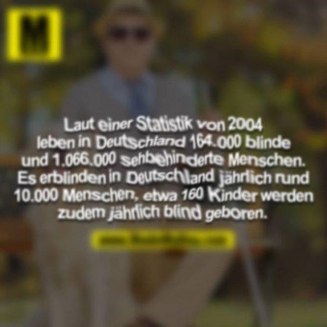Laut einer Statistik von 2004 leben in Detuschland 164.000 blinde und 1.066.000 sehbehinderte Menschen. Es erblinden in Deutschland jährlich rund 10.000 Menschen, etwa 160 Kinder werden zudem jährlich blind geboren.