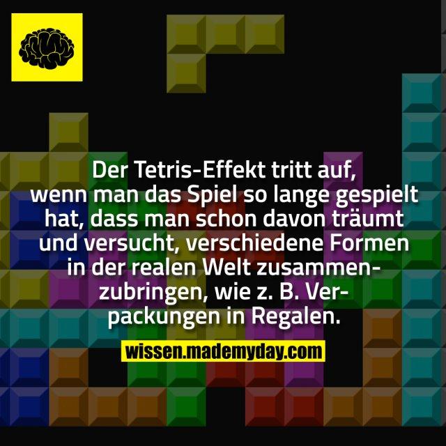Der Tetris-Effekt tritt auf, wenn man das Spiel so lange gespielt hat, dass man schon davon träumt und versucht, verschiedene Formen in der realen Welt zusammenzubringen, wie z. B. Verpackungen in Regalen.