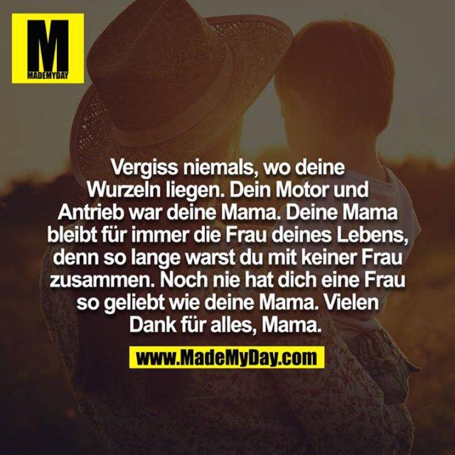 Vergiss niemals, wo deine Wurzeln liegen. Dein Motor und Antrieb war deine Mama. Deine Mama bleibt für immer die Frau deines Lebens, denn so lange warst du mit keiner Frau zusammen. Noch nie hat dich eine Frau so geliebt wie deine Mama. Vielen Dank für alles, Mama.
