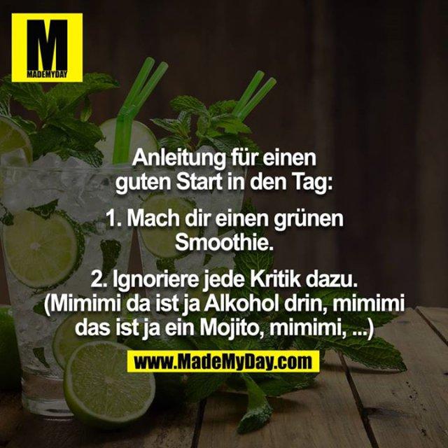 Anleitung für einen guten Start in den Tag:<br /> <br /> 1. Mach dir einen grünen Smoothie.<br /> <br /> 2. Ignoriere jede Kritik dazu. (Mimimi da ist ja Alkohol drin, mimimi<br /> das ist ja ein Mojito, mimimi, ...)