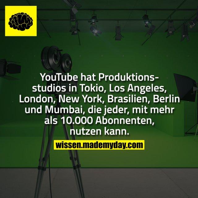 YouTube hat Produktionsstudios in Tokio, Los Angeles, London, New York, Brasilien, Berlin und Mumbai, die jeder, mit mehr als 10.000 Abonnenten, nutzen kann.