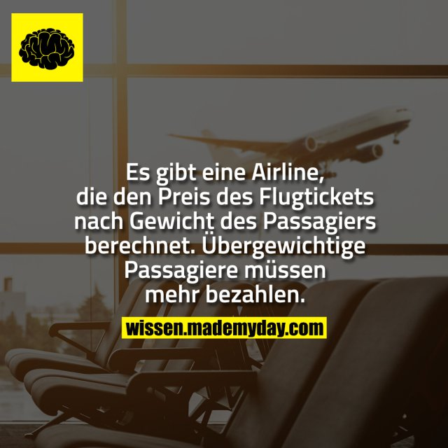 Es gibt eine Airline, die den Preis des Flugtickets nach Gewicht des Passagiers berechnet. Übergewichtige Passagiere müssen mehr bezahlen.