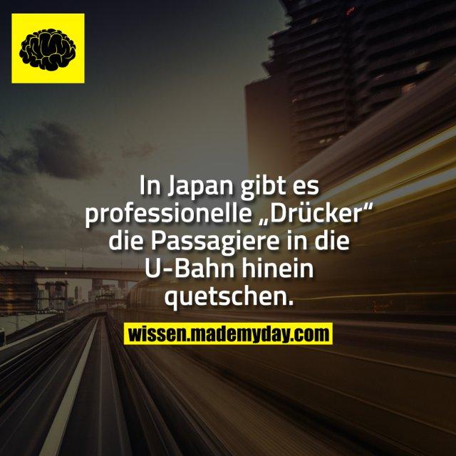 """In Japan gibt es professionelle """"Drücker"""" die Passagiere in die U-Bahn hinein quetschen."""