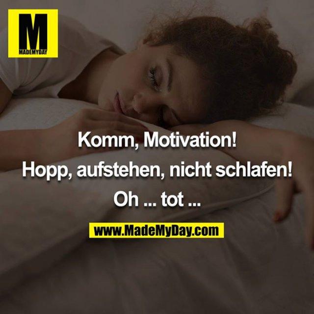 Komm, Motivation!<br /> <br /> Hopp, aufstehen, nicht schlafen!<br /> <br /> Oh ... tot ...