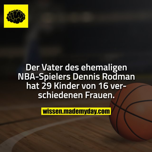 Der Vater des ehemaligen NBA-Spielers Dennis Rodman hat 29 Kinder von 16 verschiedenen Frauen.