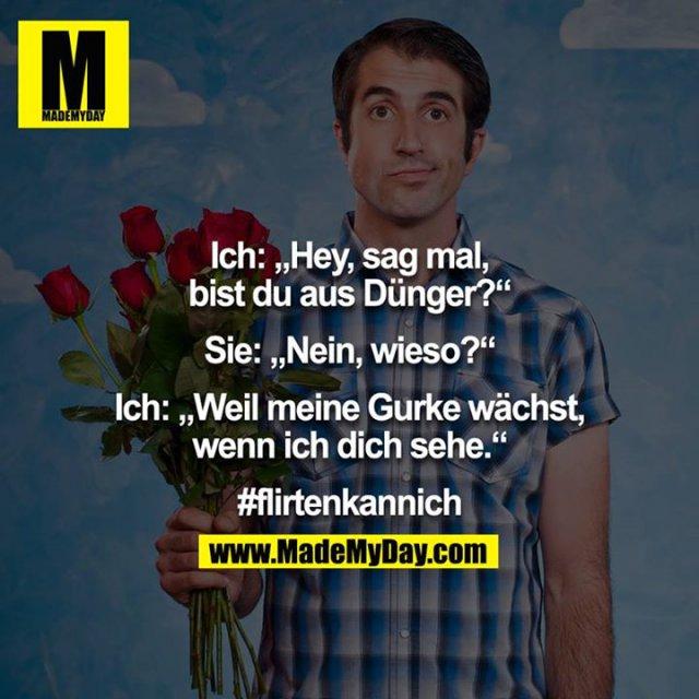 """Ich: """"Hey, sag mal, bist du aus Dünger?""""<br /> <br /> Sie: """"Nein, wieso?""""<br /> <br /> Ich: """"Weil meine Gurke wächst, wenn ich dich sehe.""""<br /> <br /> #flirtenkannich"""