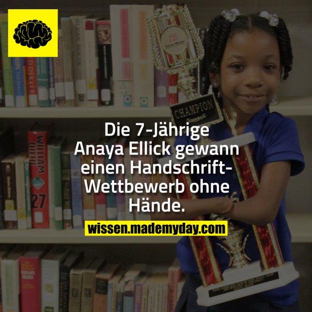 Die 7-Jährige Anaya Ellick gewann einen Handschrift-Wettbewerb ohne Hände.