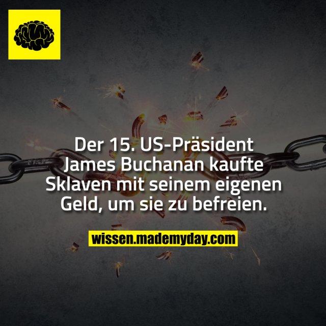 Der 15. US-Präsident James Buchanan kaufte Sklaven mit seinem eigenen Geld, um sie zu befreien.