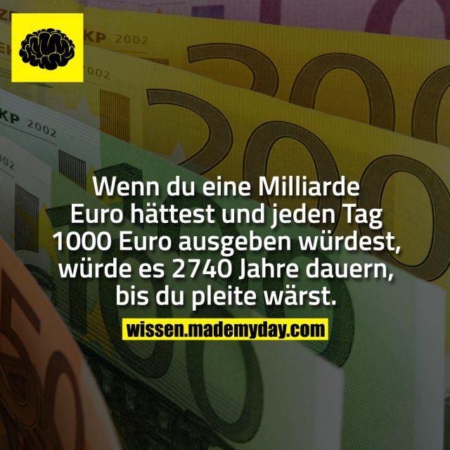 Wenn du eine Milliarde Euro hättest und jeden Tag 1000 Euro ausgeben würdest, würde es 2740 Jahre dauern, bis du pleite wärst.