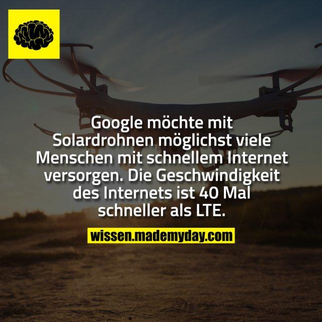 Google möchte mit Solardrohnen möglichst viele Menschen mit schnellem Internet versorgen. Die Geschwindigkeit des Internets ist 40 Mal schneller als LTE.
