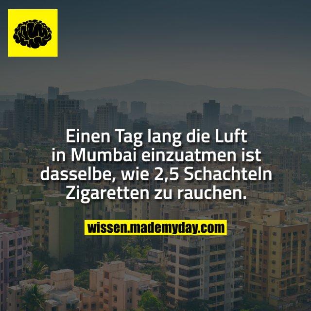 Einen Tag lang die Luft in Mumbai einzuatmen ist dasselbe, wie 2,5 Schachteln Zigaretten zu rauchen.