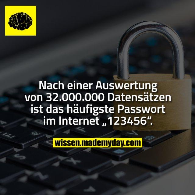 """Nach einer Auswertung von 32.000.000 Datensätzen ist das häufigste Passwort im Internet """"123456""""."""