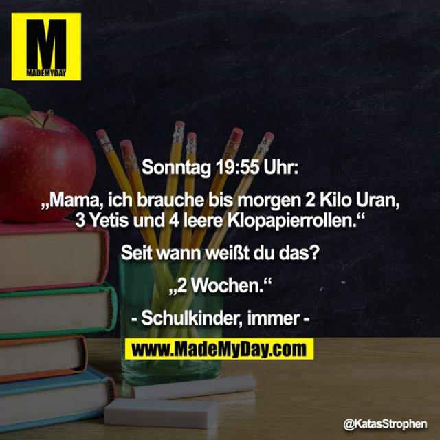 """Sonntag 19:55 Uhr:<br /> <br /> """"Mama, ich brauche bis morgen 2 Kilo Uran, 3 Yetis und 4 leere Klopapierrollen.""""<br /> <br /> Seit wann weißt du das?<br /> <br /> """"2 Wochen.""""<br /> <br /> - Schulkinder, immer -"""