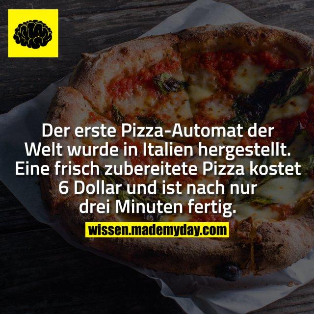 Der erste Pizza-Automat der Welt wurde in Italien hergestellt. Eine frisch zubereitete Pizza kostet 6 Dollar und ist nach nur drei Minuten fertig.