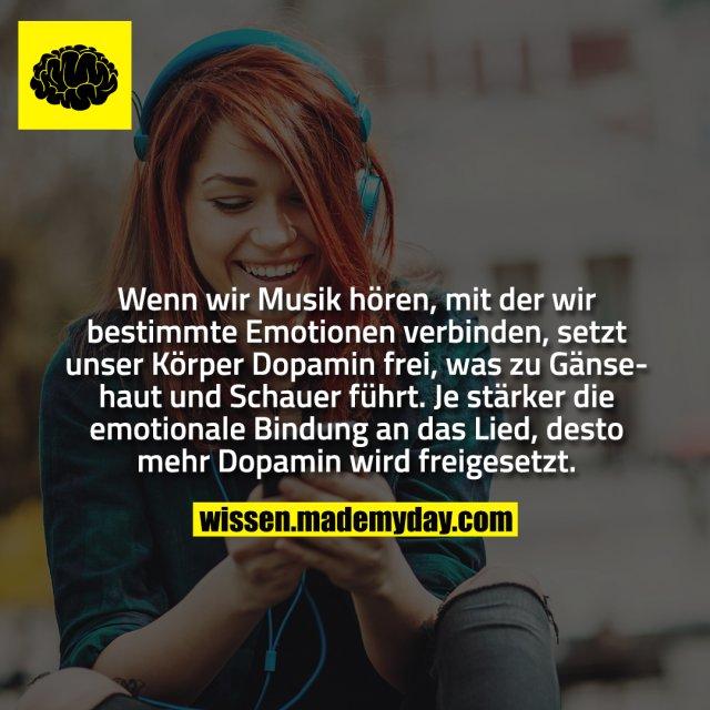 Wenn wir Musik hören, mit der wir bestimmte Emotionen verbinden, setzt unser Körper Dopamin frei, was zu Gänsehaut und Schauer führt. Je stärker die emotionale Bindung an das Lied, desto mehr Dopamin wird freigesetzt.