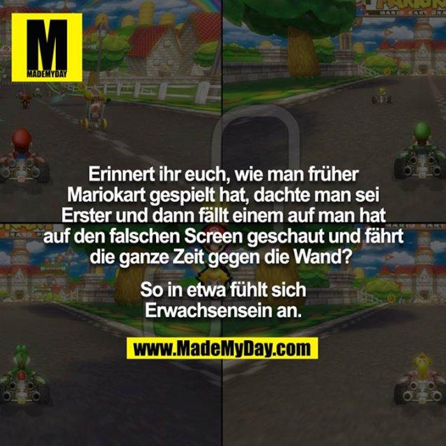 Erinnert ihr euch, wie man früher Mariokart gespielt hat, dachte man sei Erster und dann fällt einem auf man hat auf den falschen Screen geschaut und fährt die ganze Zeit gegen die Wand? <br /> <br /> So in etwa fühlt sich Erwachsensein an.