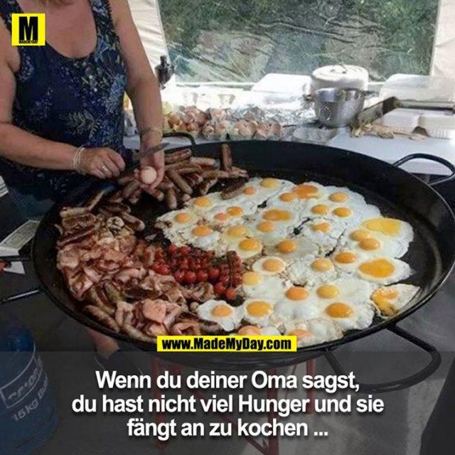 Wenn du deiner Oma sagst, du hast nicht viel Hunger und sie fängt an zu kochen ...