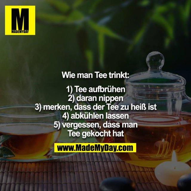 Wie man Tee trinkt:<br /> <br /> 1) Tee aufbrühen<br /> 2) daran nippen<br /> 3) merken, dass der Tee zu heiß ist<br /> 4) abkühlen lassen<br /> 5) vergessen, dass man Tee gekocht hat