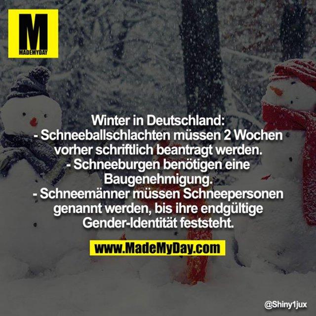 Winter in Deutschland:<br /> - Schneeballschlachten müssen 2 Wochen vorher schriftlich beantragt werden.<br /> - Schneeburgen benötigen eine Baugenehmigung.<br /> - Schneemänner müssen Schneepersonen genannt werden, bis ihre endgültige Gender-Identität feststeht.