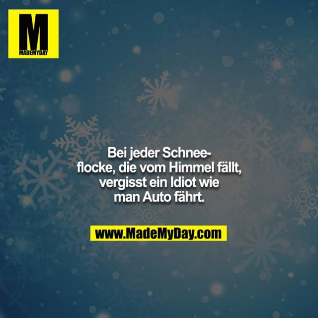 Bei jeder Schneeflocke, die vom Himmel fällt, vergisst ein Idiot wie man Auto fährt.