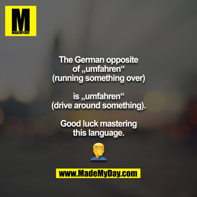 """The German opposite of """"umfahren""""<br /> (running something over)<br /> <br /> is """"umfahren""""<br /> (drive around something).<br /> <br /> Good luck mastering this language.<br /> <br /> ?"""