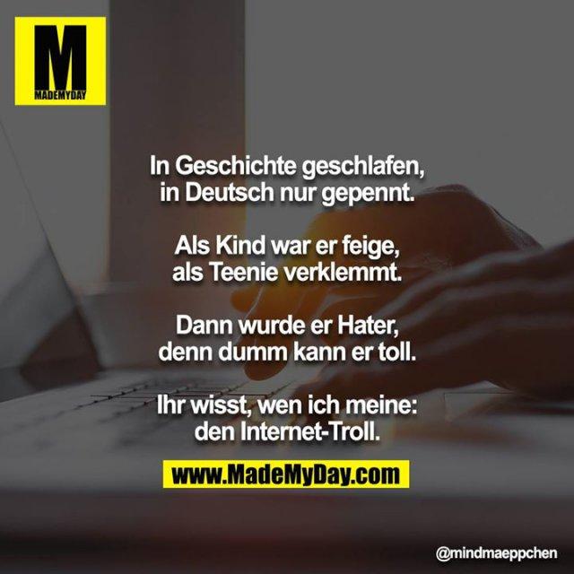 In Geschichte geschlafen, in Deutsch nur gepennt.<br /> Als Kind war er feige, als Teenie verklemmt.<br /> Dann wurde er Hater, denn dumm kann er toll.<br /> Ihr wisst, wen ich meine: den Internet-Troll.