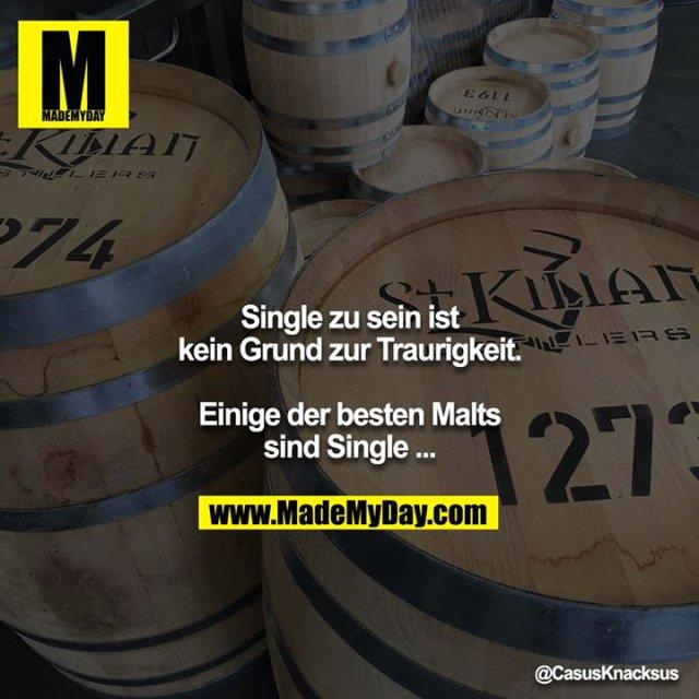 Single zu sein ist kein Grund zur Traurigkeit.<br /> <br /> Einige der besten Malts sind Single ...