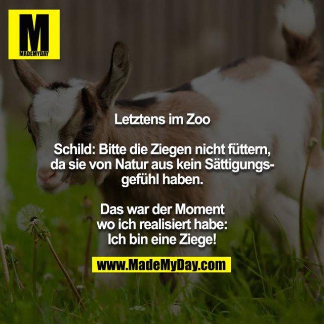Letztens im Zoo<br /> <br /> Schild: Bitte die Ziegen nicht füttern, da sie von Natur aus kein Sättigungsgefühl haben.<br />  <br /> Das war der Moment wo ich realisiert habe: Ich bin eine Ziege!