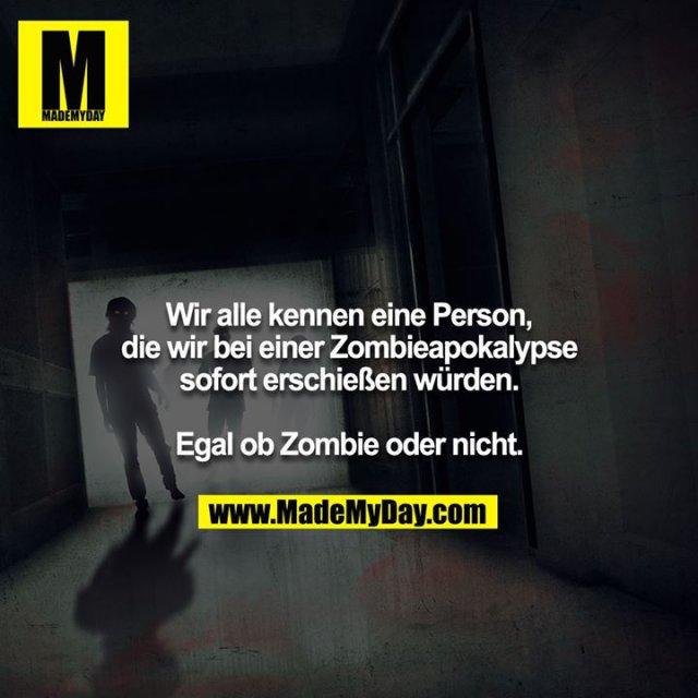 Wir alle kennen eine Person, die wir bei einer Zombieapokalypse sofort erschießen würden.<br /> <br /> Egal ob Zombie oder nicht.
