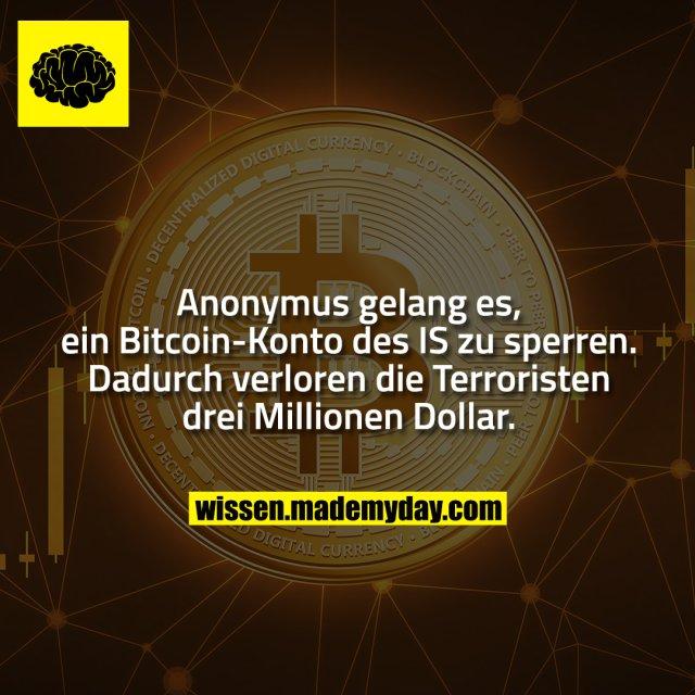 Anonymus gelang es, ein Bitcoin-Konto des IS zu sperren. Dadurch verloren die Terroristen drei Millionen Dollar.