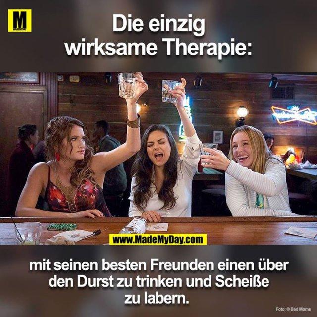 Die einzig wirksame Therapie<br /> mit seinen besten Freunden einen über den Durst zu trinken und scheisse zu labern.