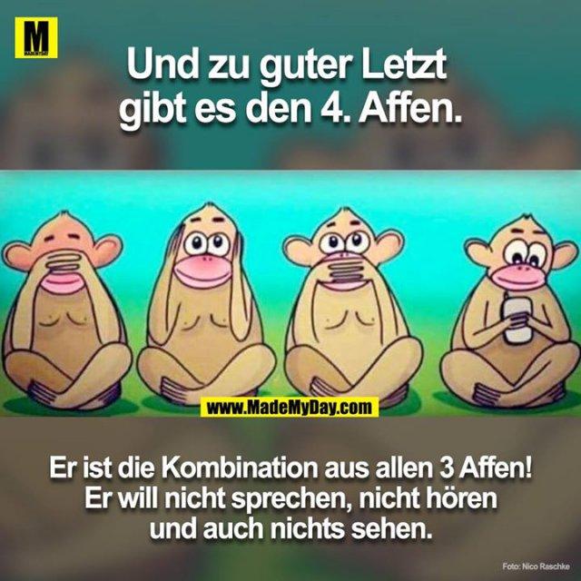 Und zu guter letzt ist der 4. Affe auch da.<br /> Er ist die Kombination von allen vier! Er will nicht sprechen, nicht hören und auch nichts sehen.