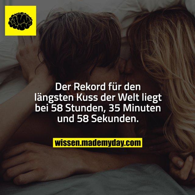 Der Rekord für den längsten Kuss der Welt liegt bei 58 Stunden, 35 Minuten und 58 Sekunden.