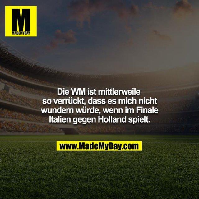 Die WM ist mittlerweile so verrückt, dass es mich nicht wundern würde, wenn im Finale Italien gegen Holland spielt.