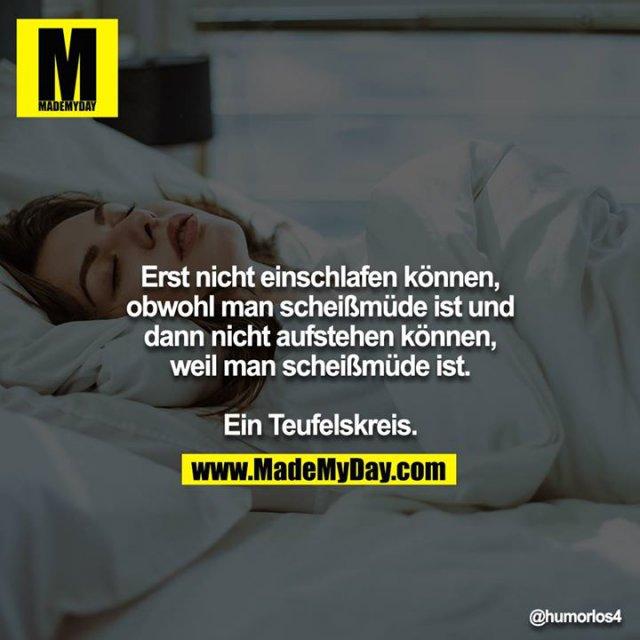 Erst nicht einschlafen können, obwohl man scheißmüde ist und dann nicht aufstehen können, weil man scheißmüde ist.<br /> <br /> Ein Teufelskreis.