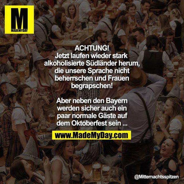 Achtung! Jetzt laufen wieder stark alkoholisierte Südländer herum, die unsere Sprache nicht beherrschen und Frauen begrapschen! Aber neben den Bayern werden sicher auch ein paar normale Gäste auf dem Oktoberfest sein ...