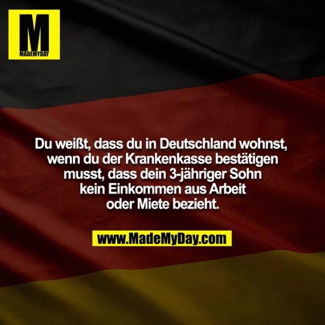 Du weißt, dass du in Deutschland wohnst, wenn du der Krankenkasse bestätigen musst, dass dein 3-jähriger Sohn kein Einkommen aus Arbeit oder Miete bezieht.