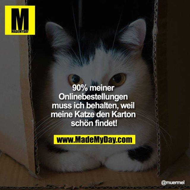 90% meiner Onlinebestellungen muss ich behalten, weil meine Katze den Karton schön findet!