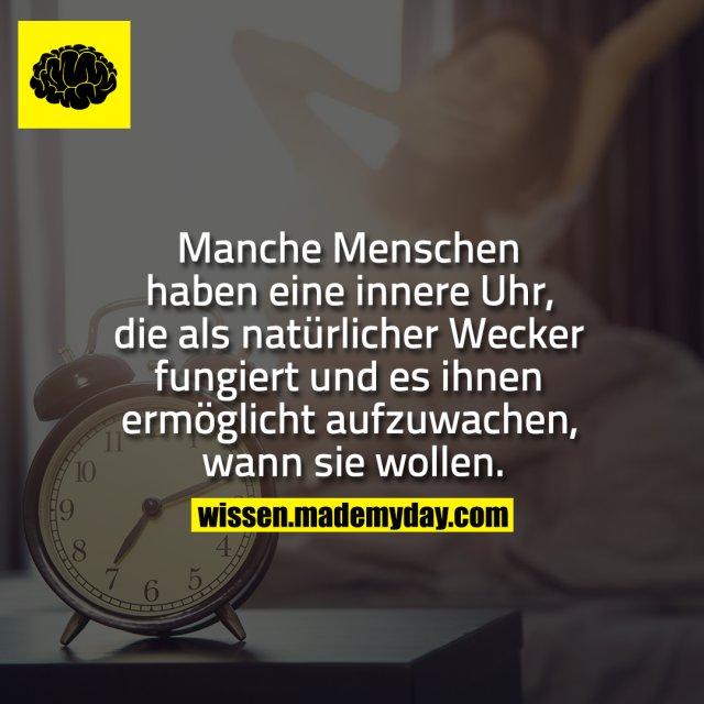 Manche Menschen haben eine innere Uhr, die als natürlicher Wecker fungiert und es ihnen ermöglicht aufzuwachen, wann sie wollen.