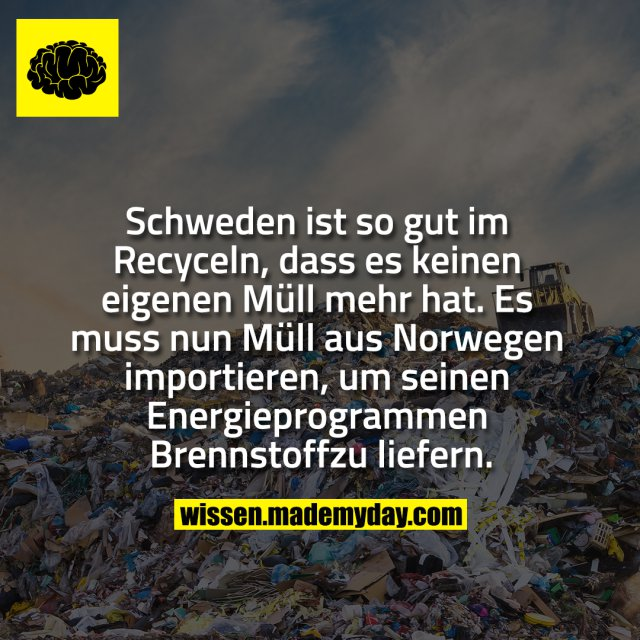 Schweden ist so gut im Recyceln, dass es<br /> keinen eigenen Müll mehr hat. Es muss nun<br /> Müll aus Norwegen importieren, um seinen<br /> Energieprogrammen Brennstoff zu liefern.